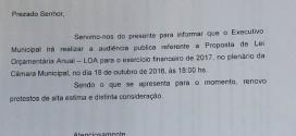 CONVITE DE AUDIÊNCIA PÚBLICA SOBRE PROJETO DE LEI ORÇAMENTÁRIA PARA O EXERCÍCIO DE 2017